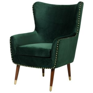 Basil Green Arm Chair With Studs