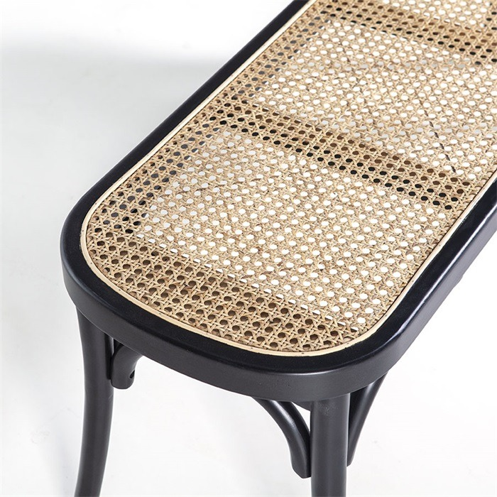 Birch Wood & Rattan Bench