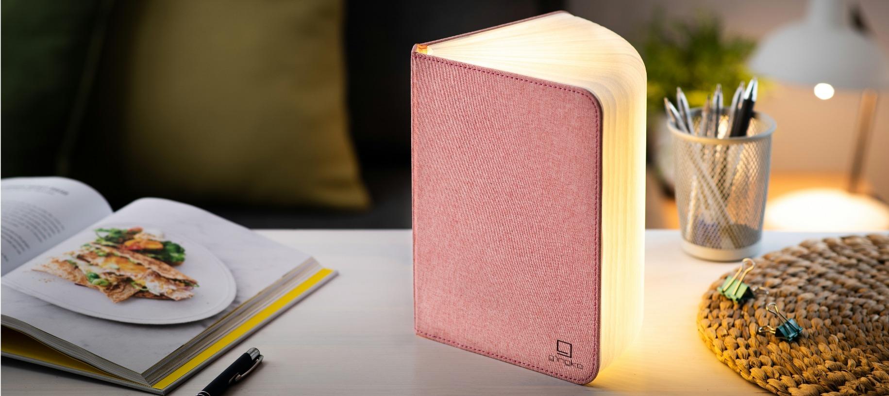 LED Smart Book Light Blush Pink
