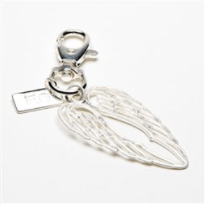 Burnished Silver Twin Angel Wing Keyring