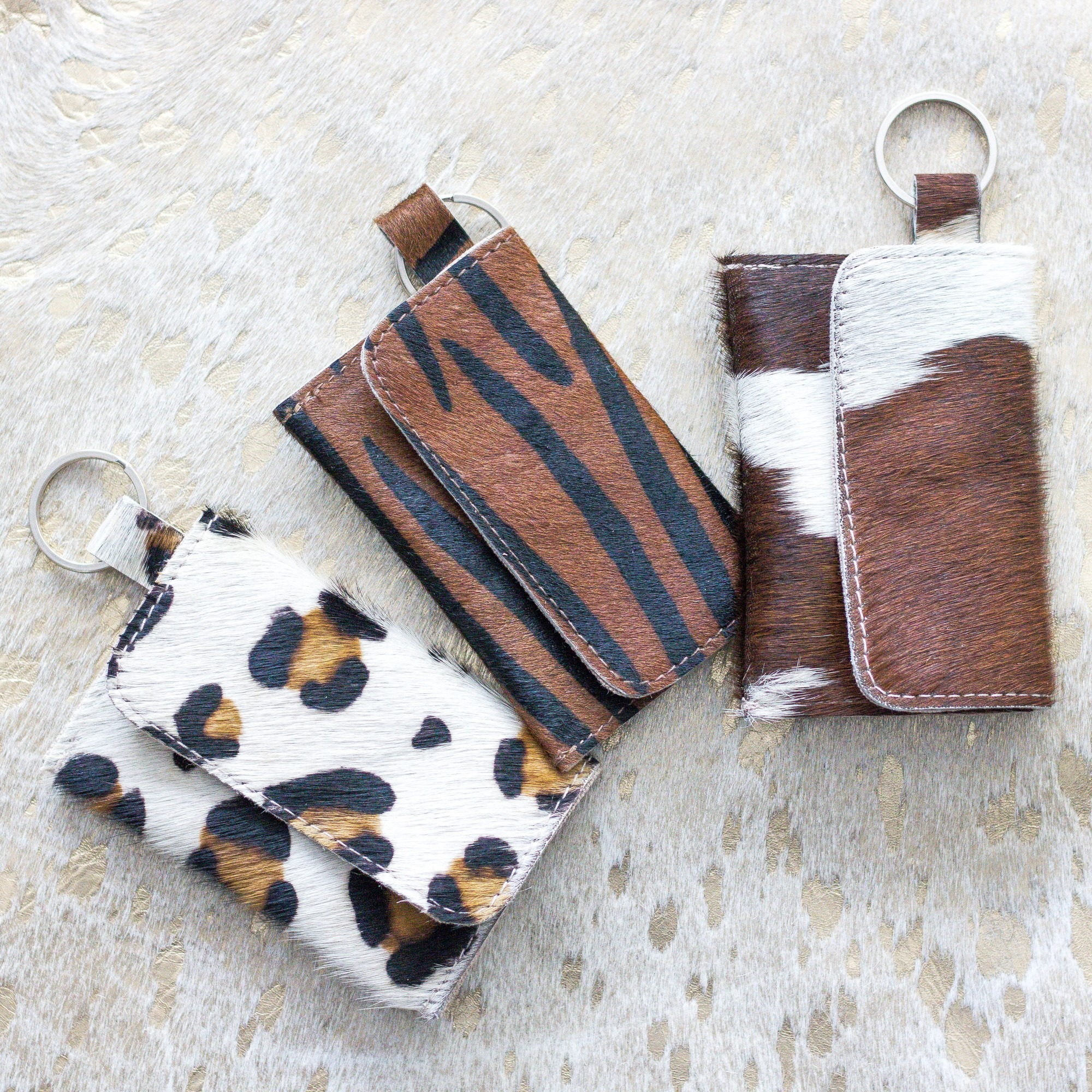 Brown & White Keychain Pouch