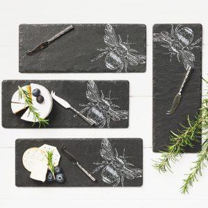 Mini Bee Slate Cheese Board & 4 Knife Set