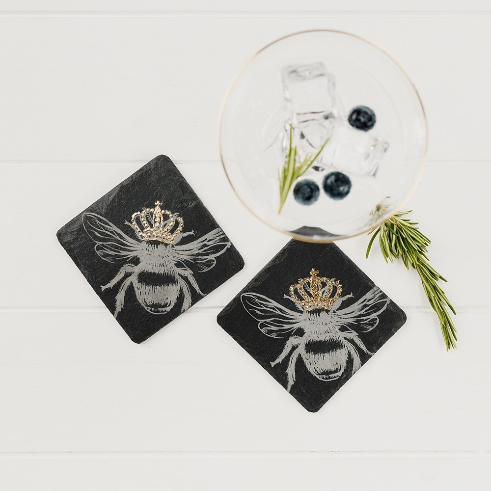 2 Gold crowned Bee Coaster Set