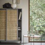 Grey Handmade Webbing Sliding Door Cabinet
