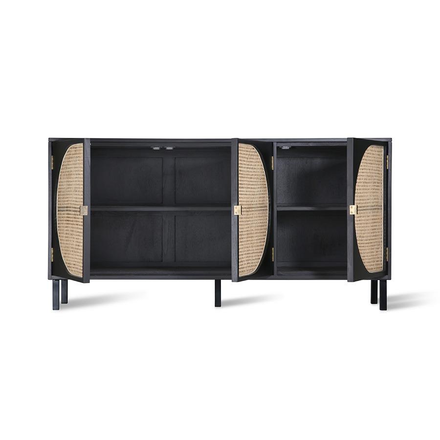 Fixed shelves, Brass handles, adjustable feet