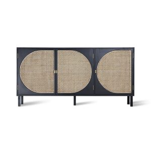 Black Handmade Retro Webbing Cabinet