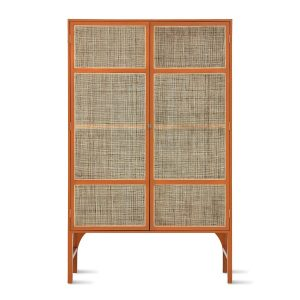 Handmade Orange retro webbing cabinet with shelves. Contains three shelves, 8 compartments. Great storage. Orange on the outside, Black on the inside, metal legs, cane ribs, Brass handles and adjustable feet.