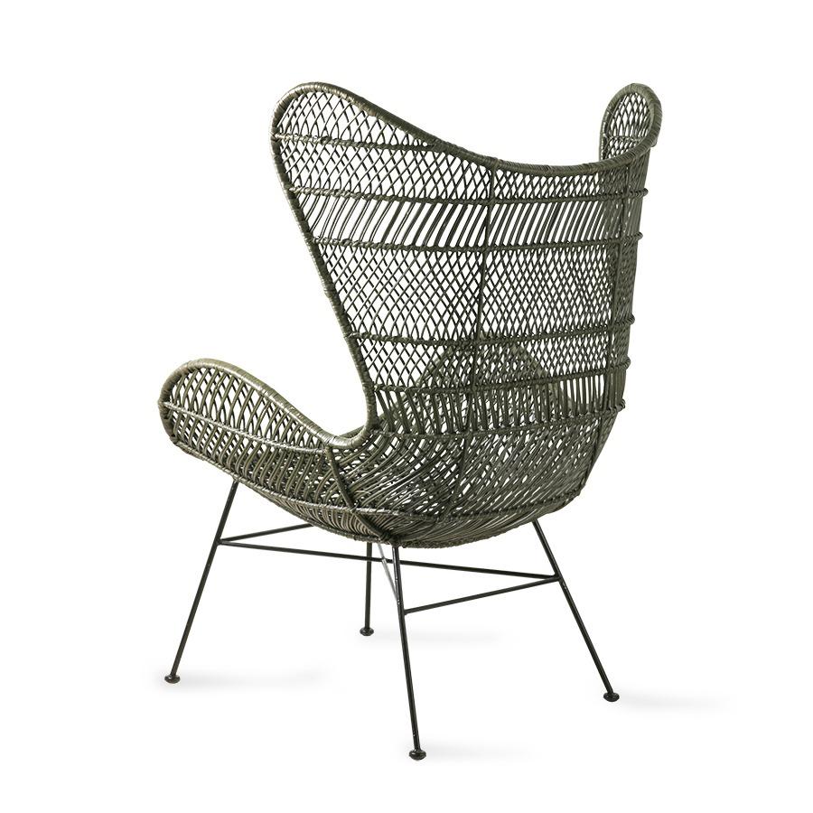 Olive Green Rattan Egg Chair