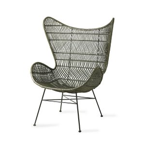 Olive Green Rattan Egg Chair