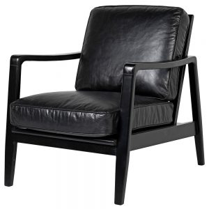 Black Leather Buckle Chair