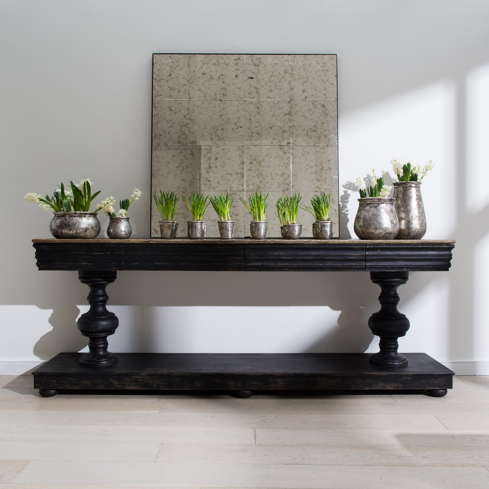 Large Distressed Black Console Table