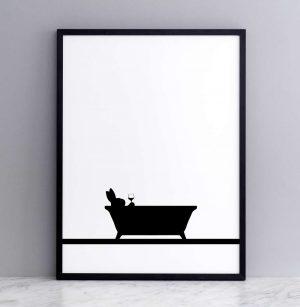Framed Bathtime Rabbit Print