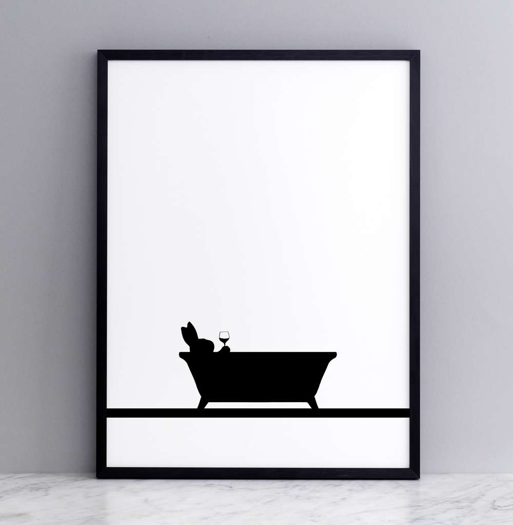 Framed Bathtime Rabbit Print