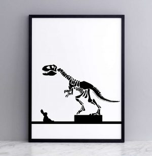 Framed Dinosaur Rabbit Print