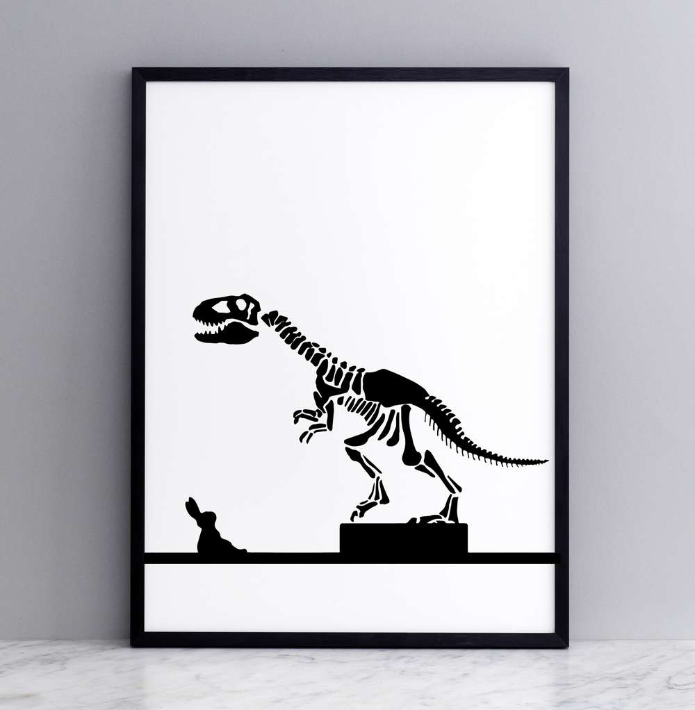 Framed Dinosaur Rabbit Print