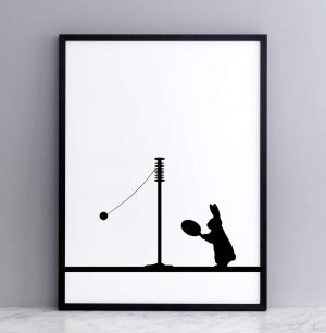 Framed Swing Ball Rabbit Print