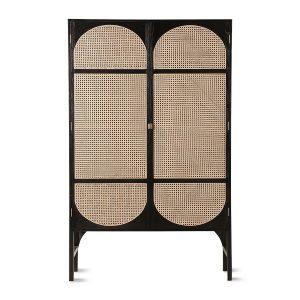 Black Retro Webbing Cabinet with Shelves