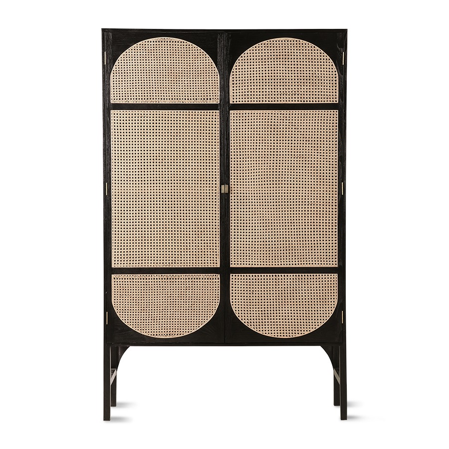 Black Retro Webbing Cabinet with Shelves