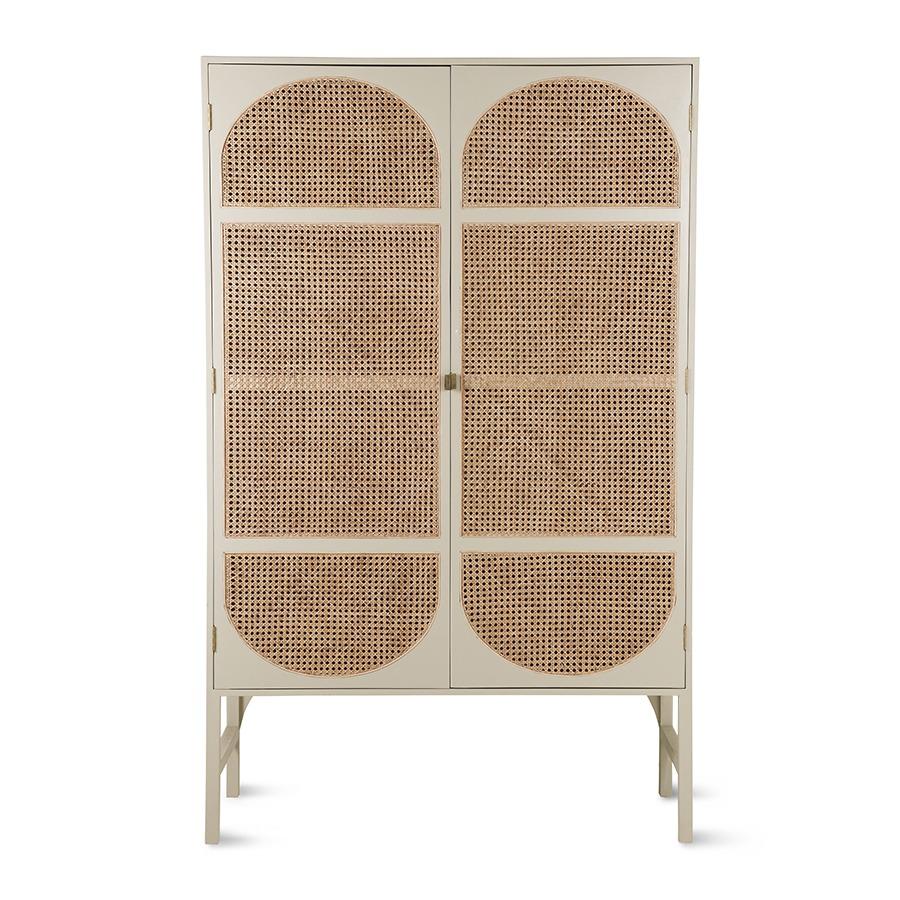 Grey Retro Webbing Cabinet with Shelves