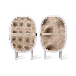 Set of 2 White Webbing Bedside Cabinets