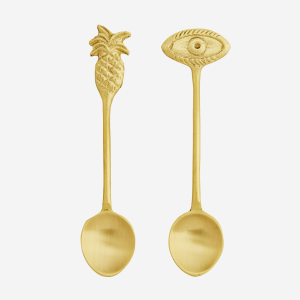 Set of 2 Small Brass Pineapple & Eye Spoons
