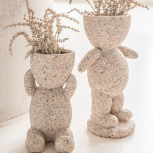 Set of 2 Ceramic Flower Pot Figures