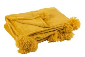 Ochre Plush Throw with Pom Pom's