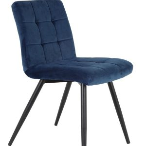 Blue Quilted Velvet Dining Chair