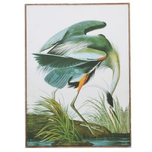 Framed Green Tropical Crane Picture
