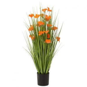 Faux Grasses with Orange Flowers