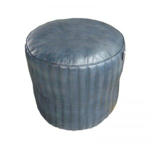 Blue Leather Round Pouffe