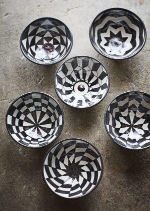 Black & White Geometric Design Stoneware Bowl