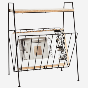 Wire Magazine Rack with Wood Top