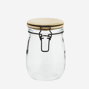 Small Glass Storage Jar with Bamboo Lid