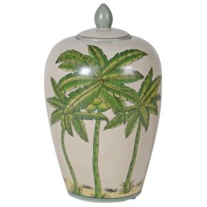 Lidded Palm Print Crackle Ceramic Ginger Jar