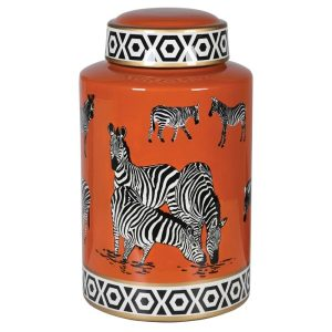 Lidded Zebra Print Ceramic Ginger Jar