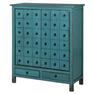 Antique Blue 2 Door Cupboard with Drawers