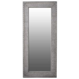 Large Grey Embossed Metal Wall Mirror