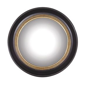 Black with Gold Trim Round Ships Mirror