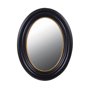Black with Gold Trim Oval Mirror