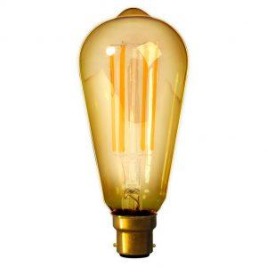 Calex B22 Bayonet LED Filament Rustic Shape Bulb Gold
