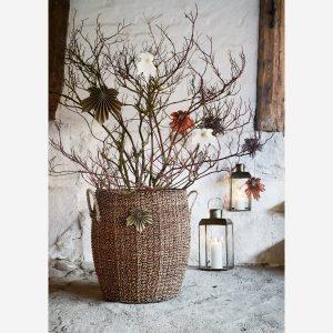 Large Brown Seagrass Lidded Basket