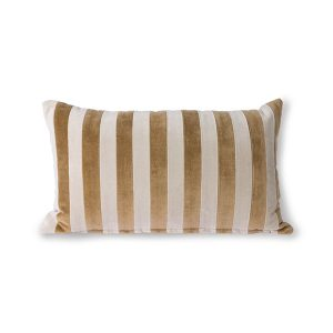 Stripped Velvet Cushion Brown and Natural