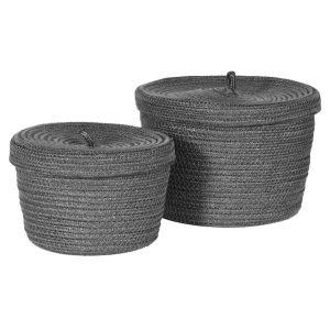 Set of 2 Grey Recycled Lidded Basket
