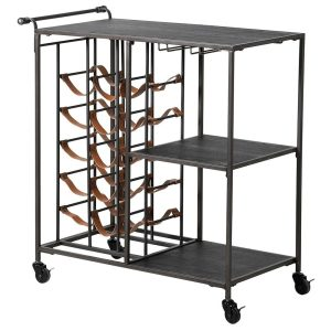 Black Metal Wine Rack Drinks Trolley