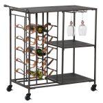 Black Metal Wine Rack Drinks Trolley