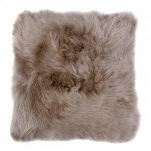 taupe sheepskin square seat pad