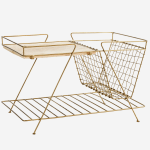 Gold Wire Magazine Rack with Wood Top