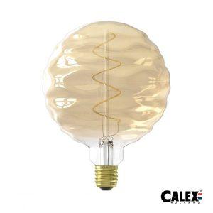 Calex LED Bilbao Rippled Globe Bulb Gold (Dimmable)