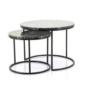 Romeo Black Marble Coffee Tables Set of Two